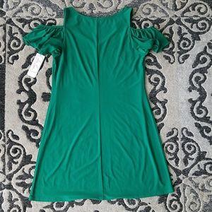 Ivy Lane Dresses - NWT Ivy Lane emerald green shoulder dress.  Sz: L